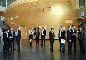 PhD students at the KLU foyer