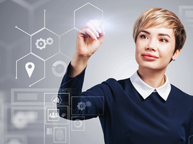 business woman working with big data