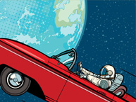 The typical Zulamo Astronaut driving his red car into space
